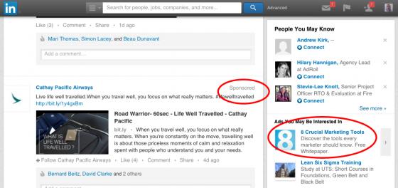 LinkedIn ads display