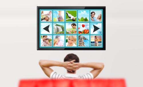 man watching video wall