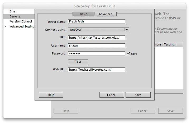 Editing your theme using WebDAV in Dreamweaver - Spiffy Stores